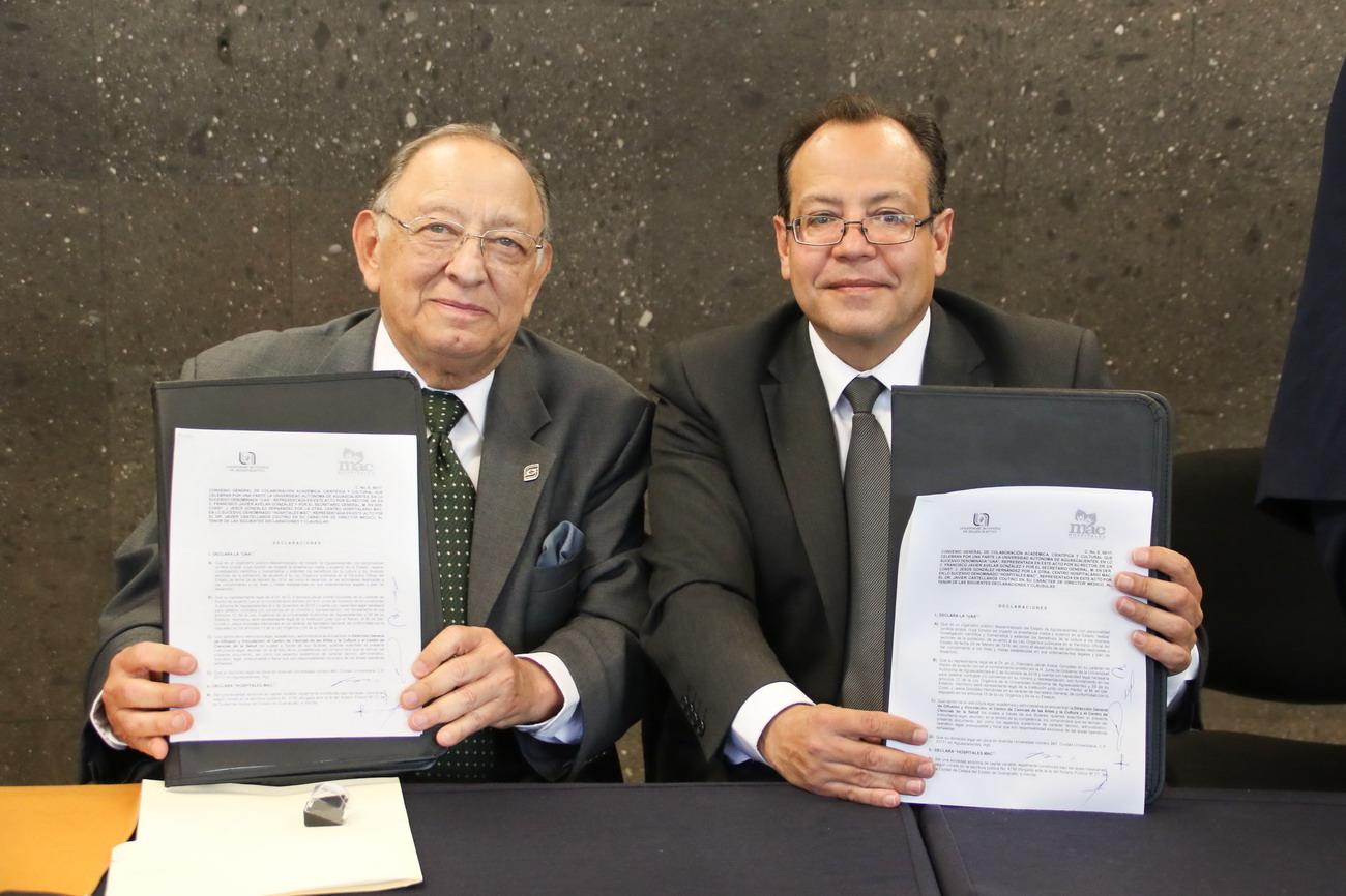 UAA y Grupo de Hospitales MAC suscriben convenio de colaboración académica científica y cultural