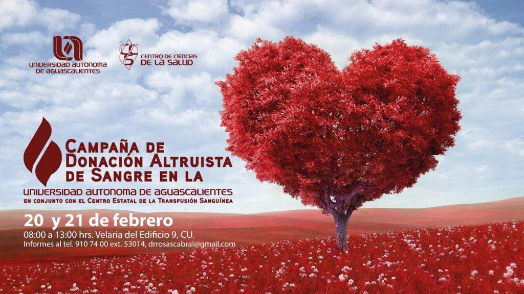 La UAA convoca a campaña de donación altruista de sangre los días 20 y 21 de febrero