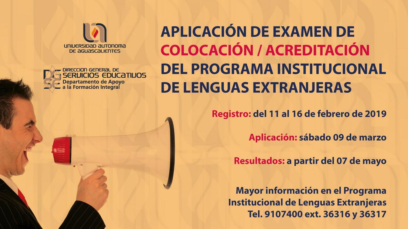 Aplicación de Examen de Colocación / Acreditación – Lenguas Extrangeras