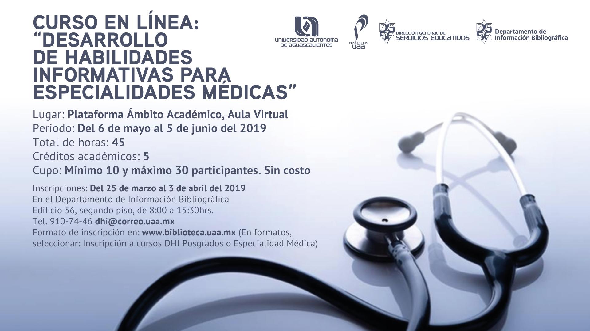 """Curso en Línea """"Desarrollo de Habilidades Informativas para Especialidades Médicas"""""""