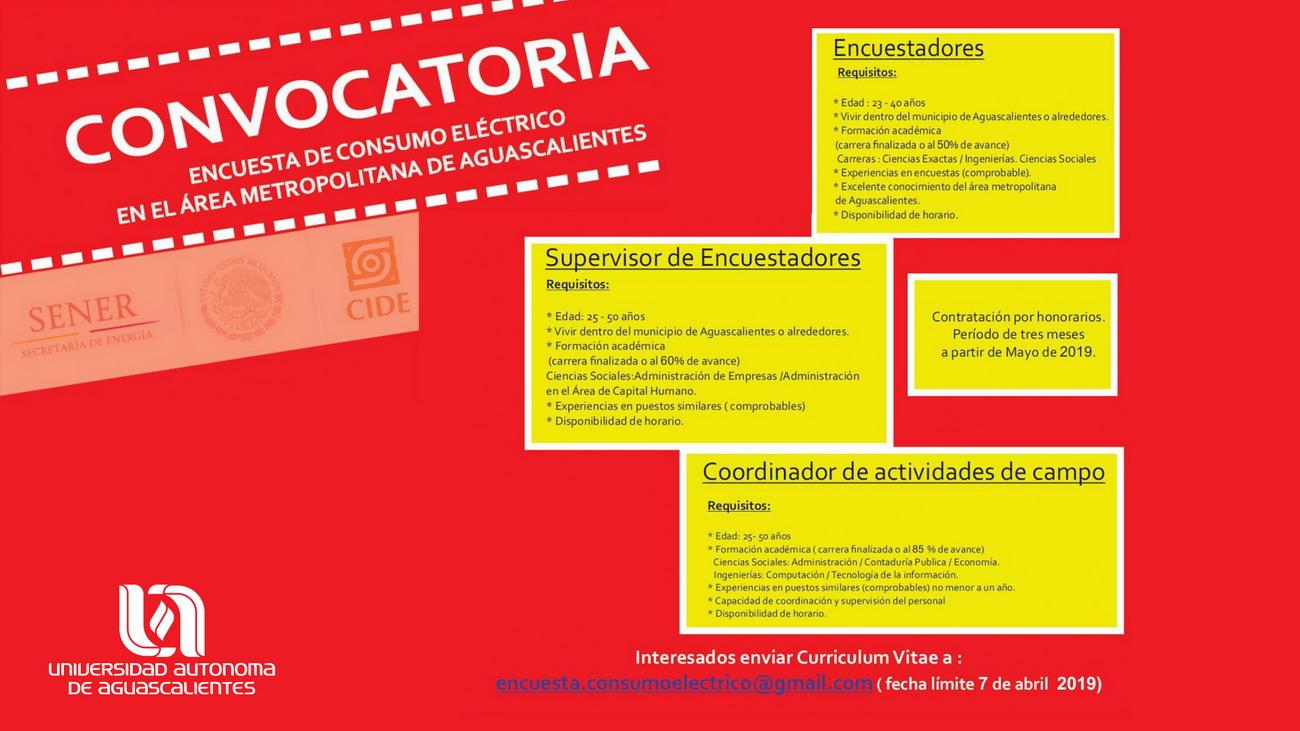 Convocatoria Encuesta de Consumo Eléctrico en el Área Metropolitana de Aguascalientes