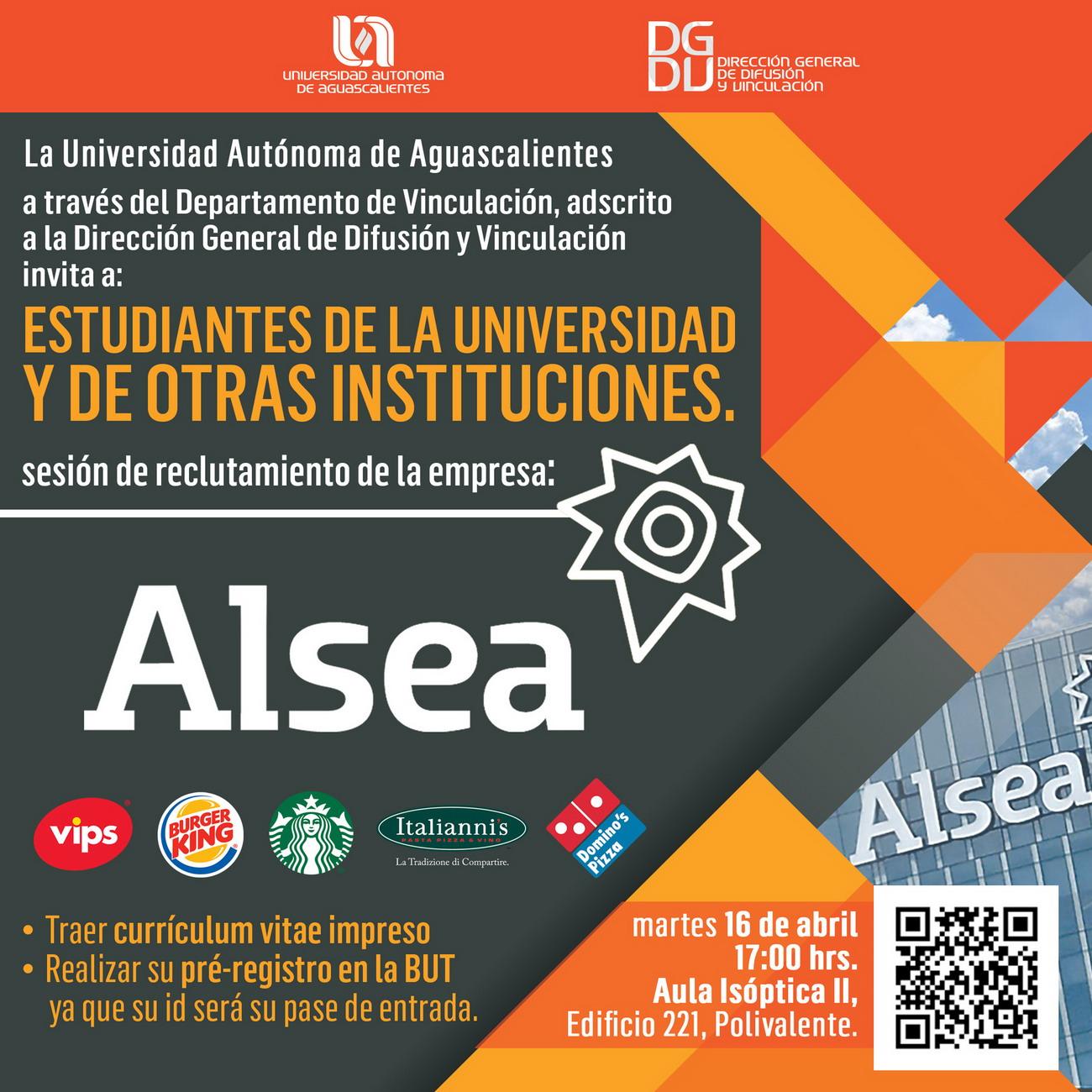 Sesión de reclutamiento de la empresa:  Alsea