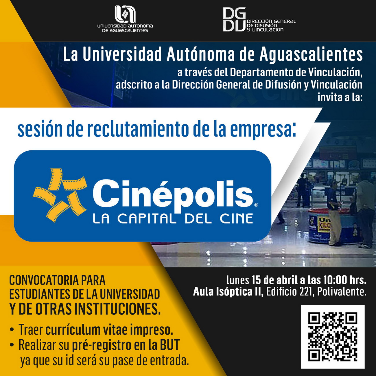 Sesión de Reclutamiento de la empresa: Cinépolis