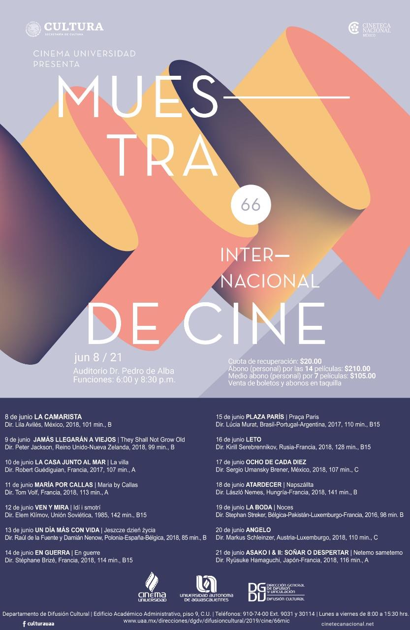 UAA recibe 66ª edición de la Muestra Internacional de Cine de la Cineteca Nacional