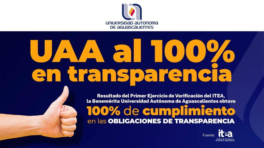 UAA obtiene calificación perfecta en el cumplimiento de obligaciones de transparencia