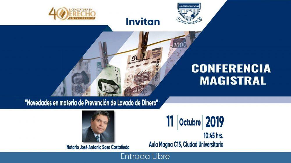 Conferencia Magistral – Novedades en materia de Prevención de lavado de Dinero