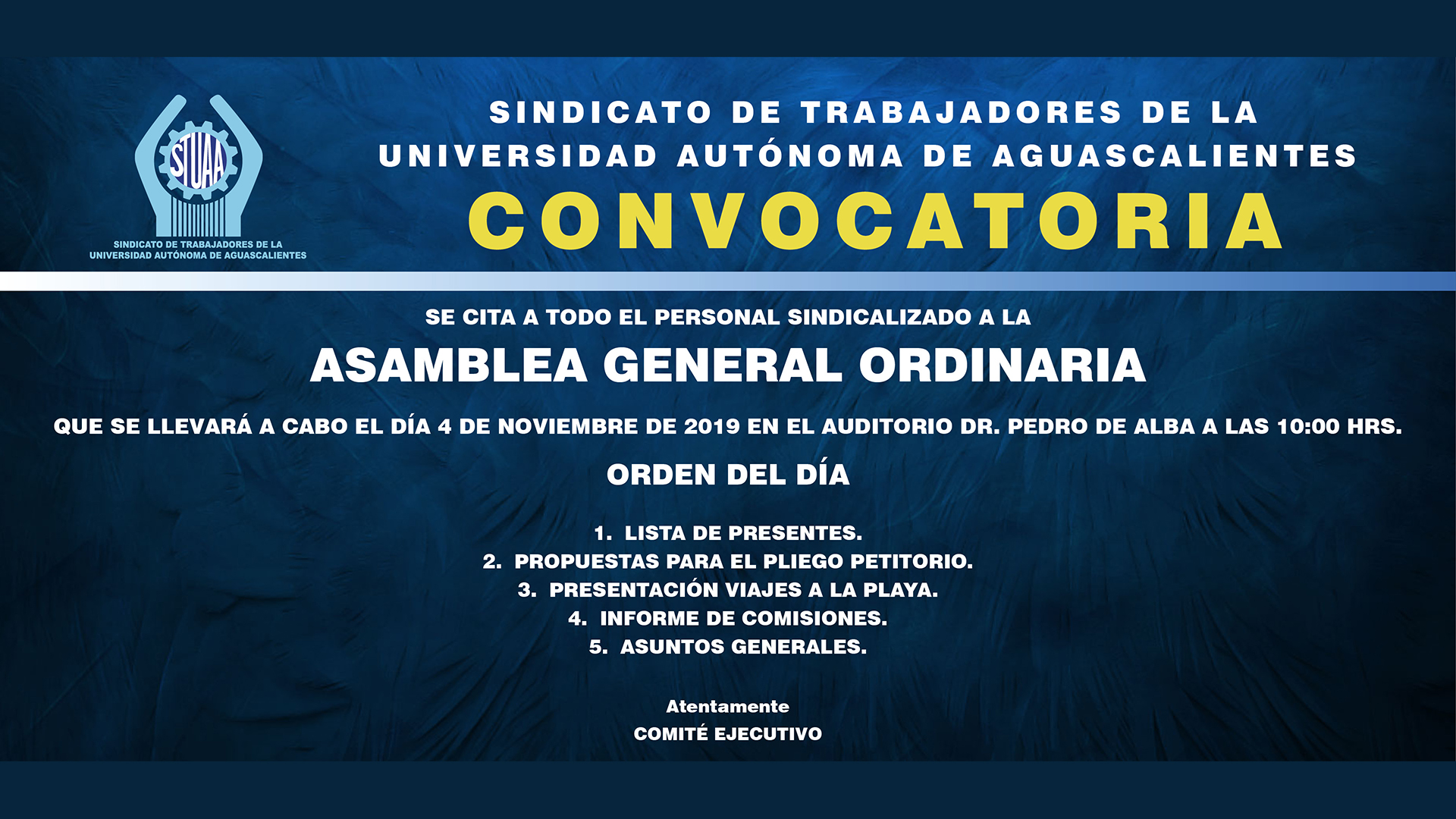 Asamblea general ordinaria STUAA