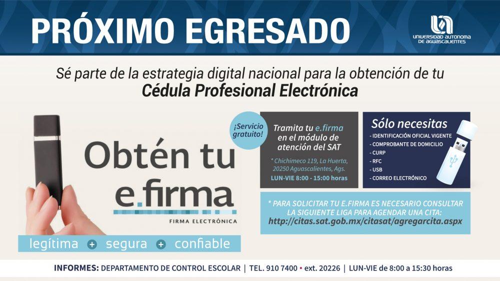 Trámite de Cédula Profesional Electrónica e-firma