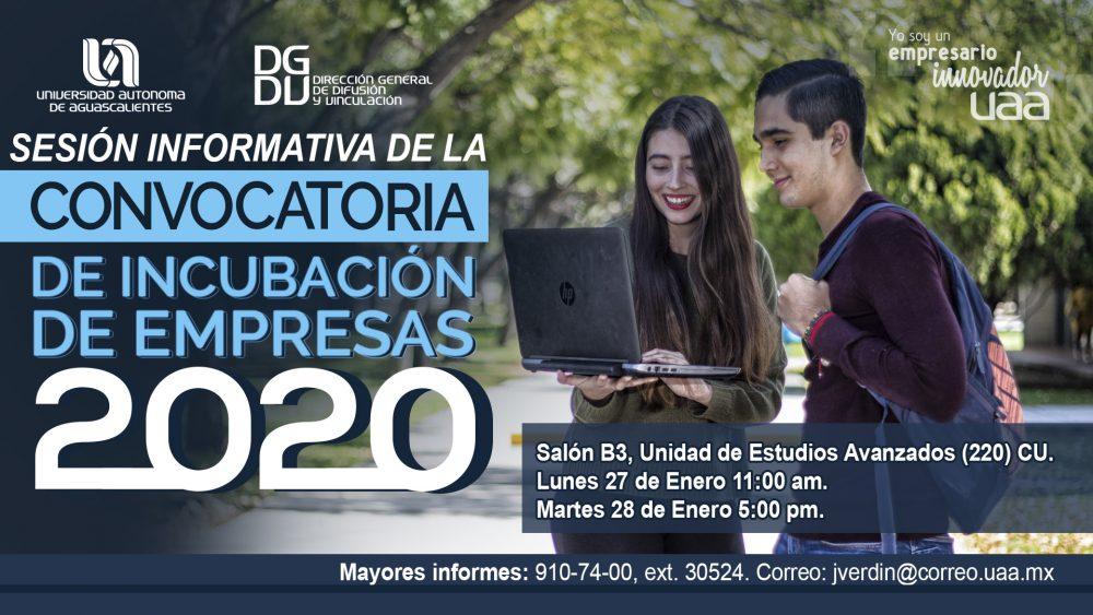 CONVOCATORIA DE INCUBACIÓN DE EMPRESAS 2020