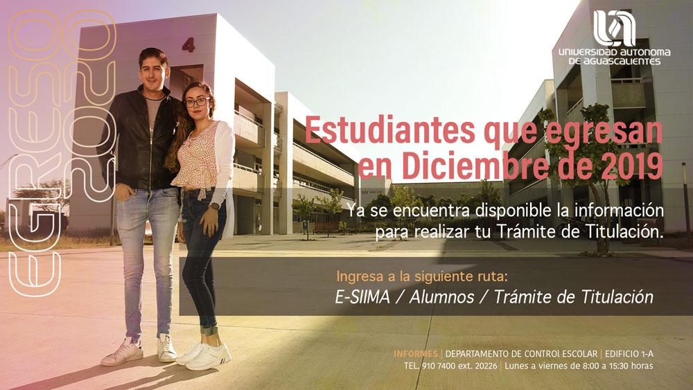 Tramite de Titulación- Estudiantes que egresan en diciembre 2019