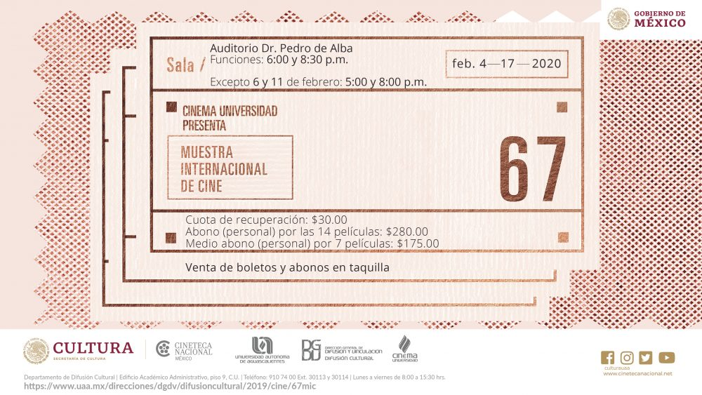 UAA presenta lo mejor del séptimo arte en la 67 Muestra Internacional de Cine
