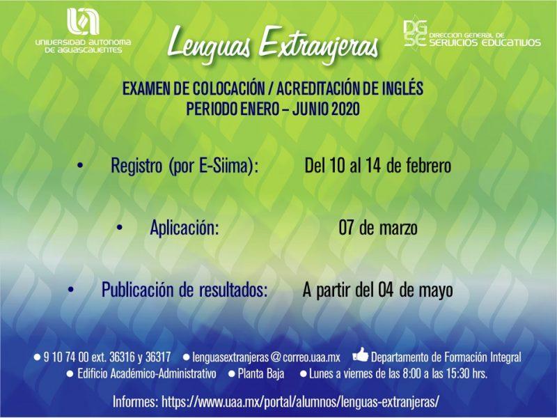 Lenguas Extranjeras – Examen de Colocación / Acreditación Ingles