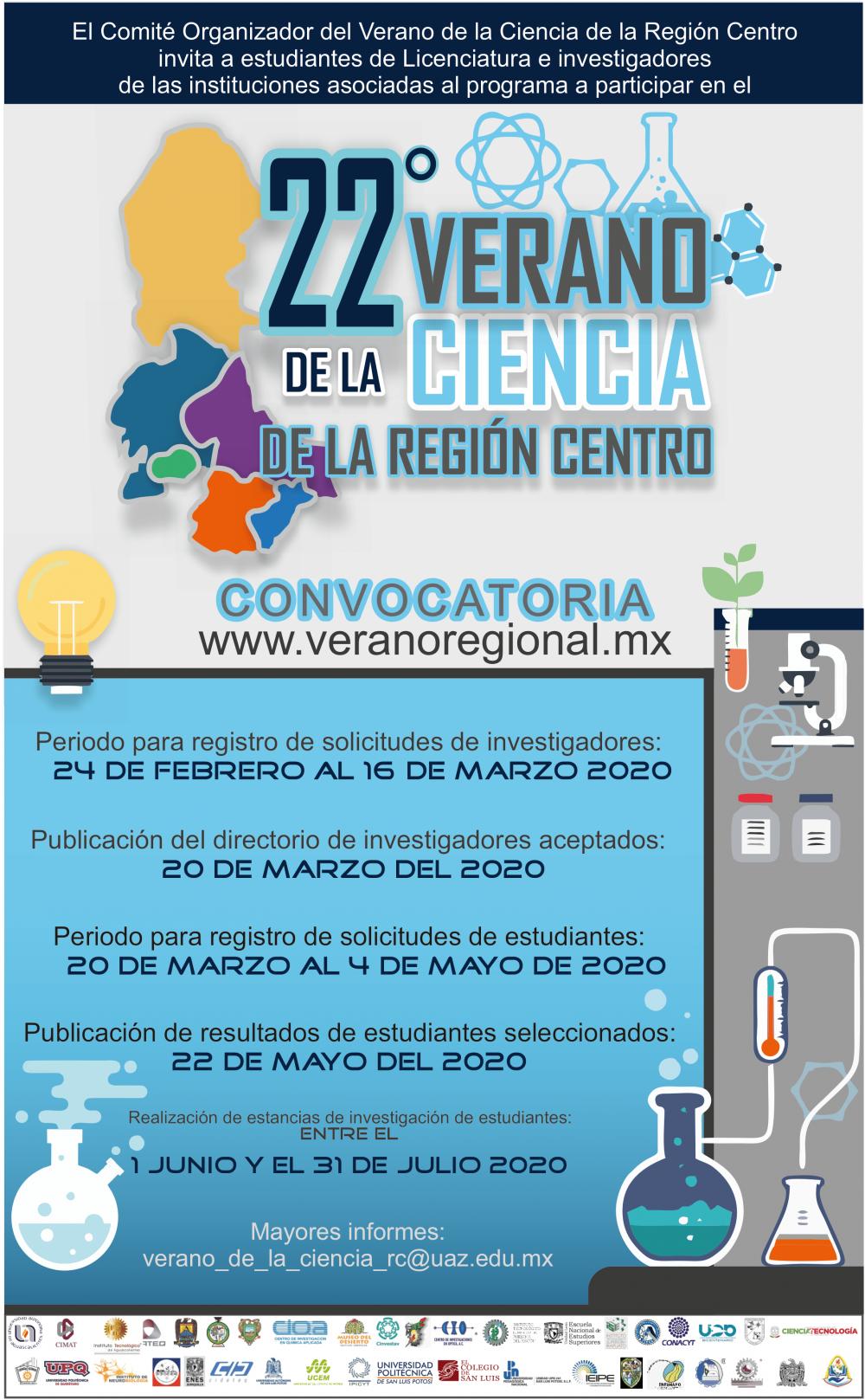 Convocatoria del 22° Verano de la Ciencia de la Región Centro