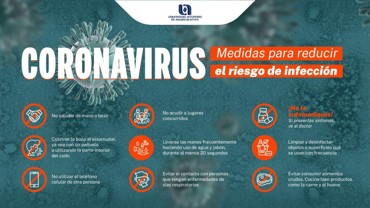 CORONAVIRUS – Medidas para reducir riesgo de infección