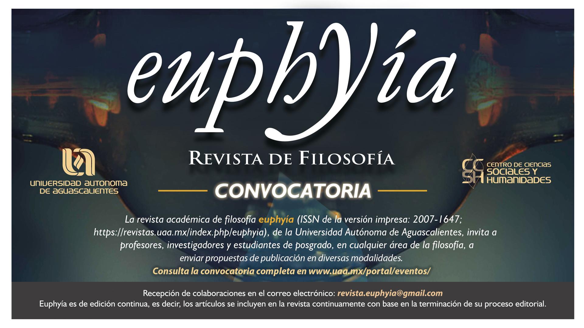 Convocatoria de la revista académica de filosofía Euphyía