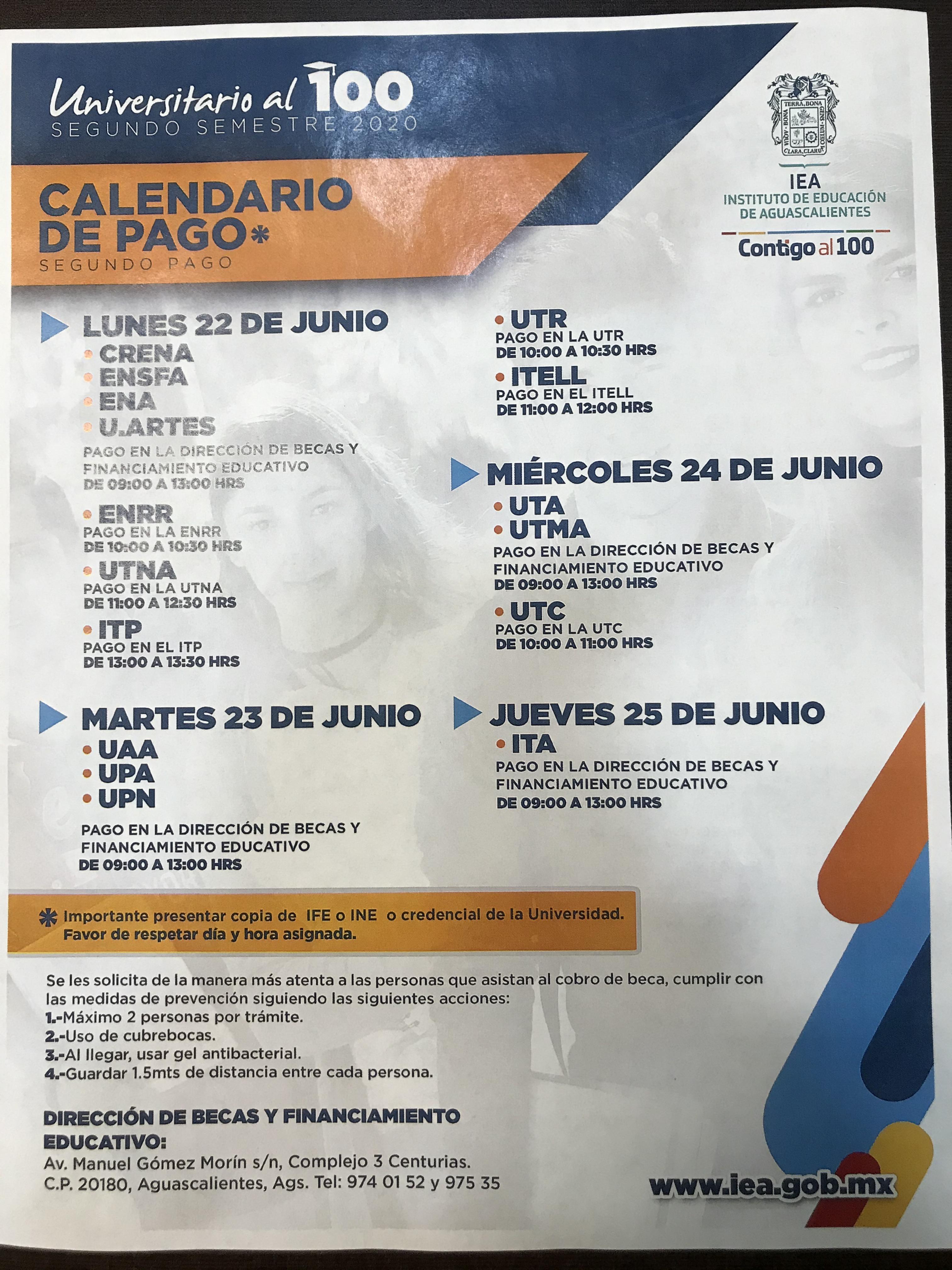 Calendario de 2do Pago Becas Universitario al 100