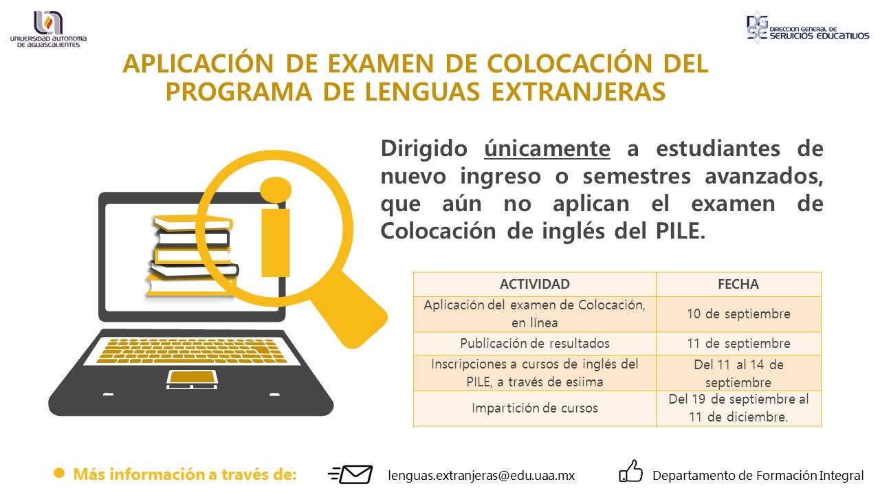 Aplicación de Examen de Colocación del Programa de Lenguas Extranjeras