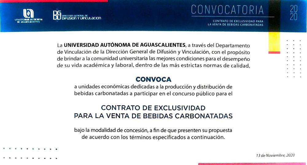 Convocatoria a para participar en el concurso para el Contrato de Exclusividad para la Venta de Bebidas Carbonatadas