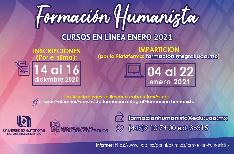 Cursos Intensivos de Formación Humanista Enero 2021