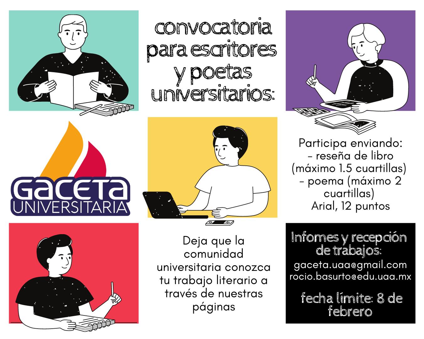 Convocatoria colaboraciones (reseña y poemas) para Gaceta Universitaria
