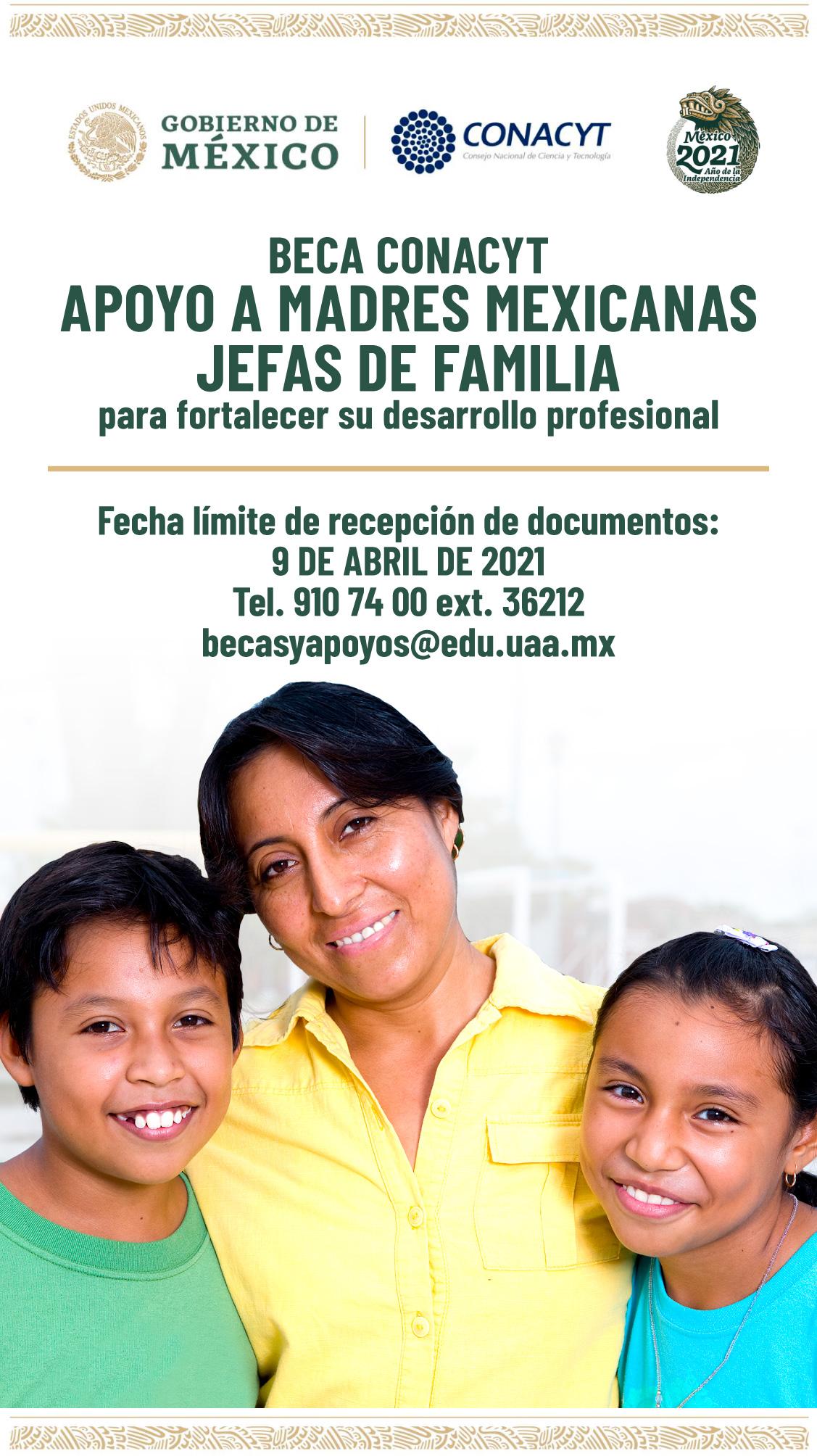 Beca Conacyt – Apoyo a Madres Mexicanas Jefas de Familia