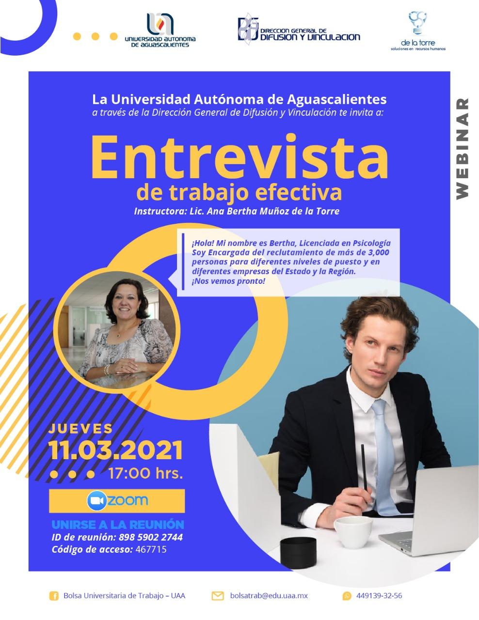 Webinar: Entrevista de trabajo efectiva