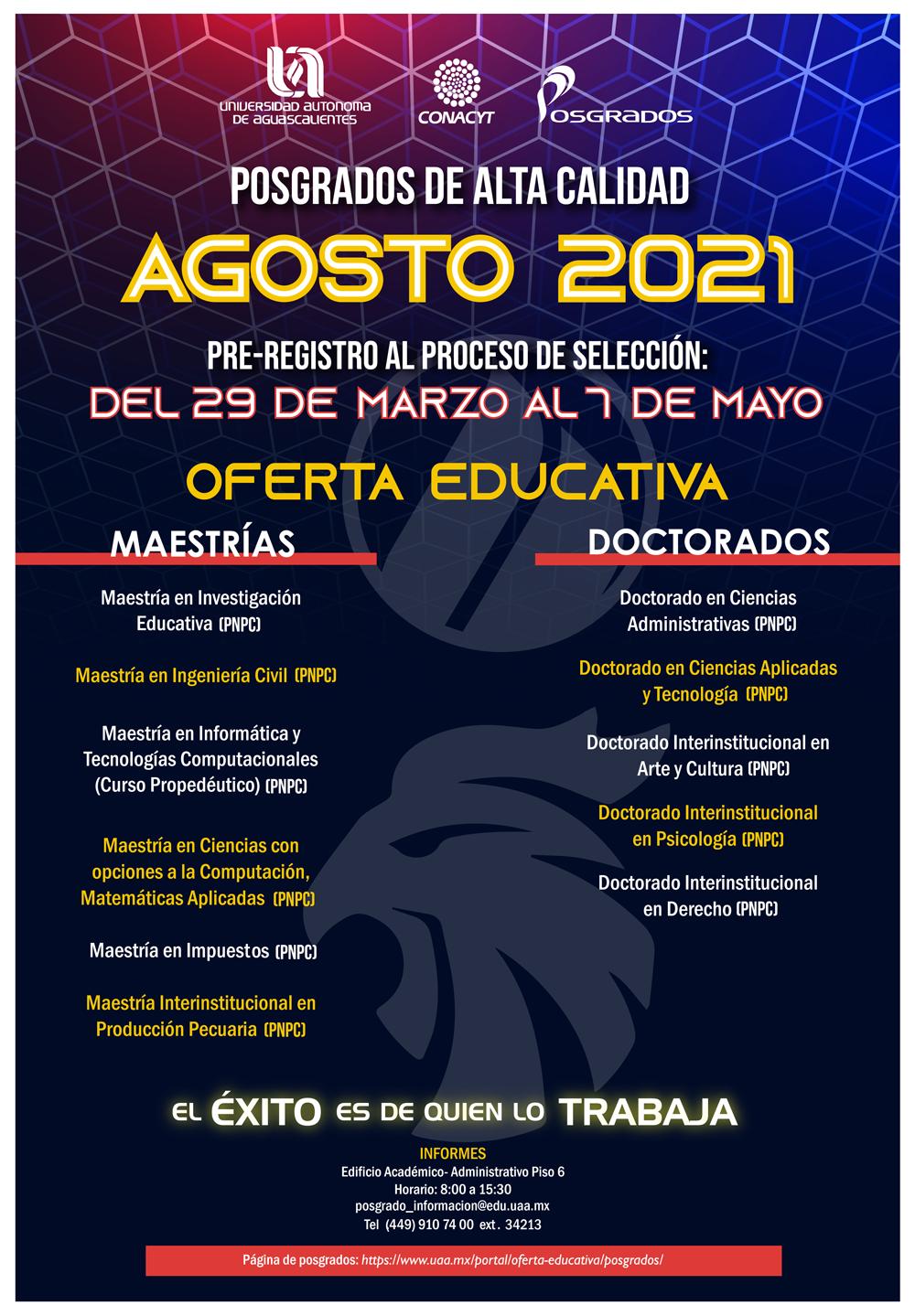 Convocatorias Posgrados Agosto 2021