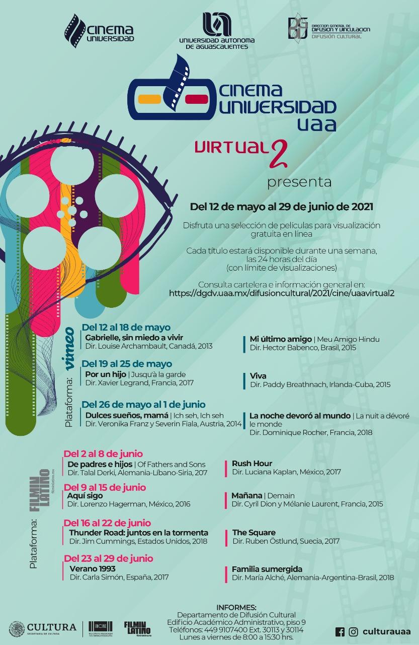 Cinema Universidad de la UAA presenta su cartelera de películas en línea y gratuitas