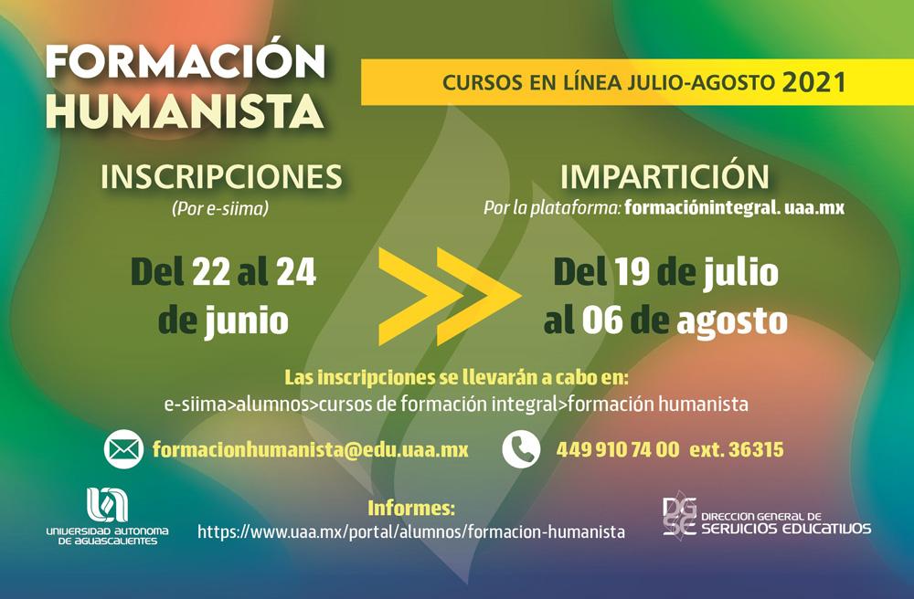 Cursos intensivos de Formación Humanista julio-agosto 2021