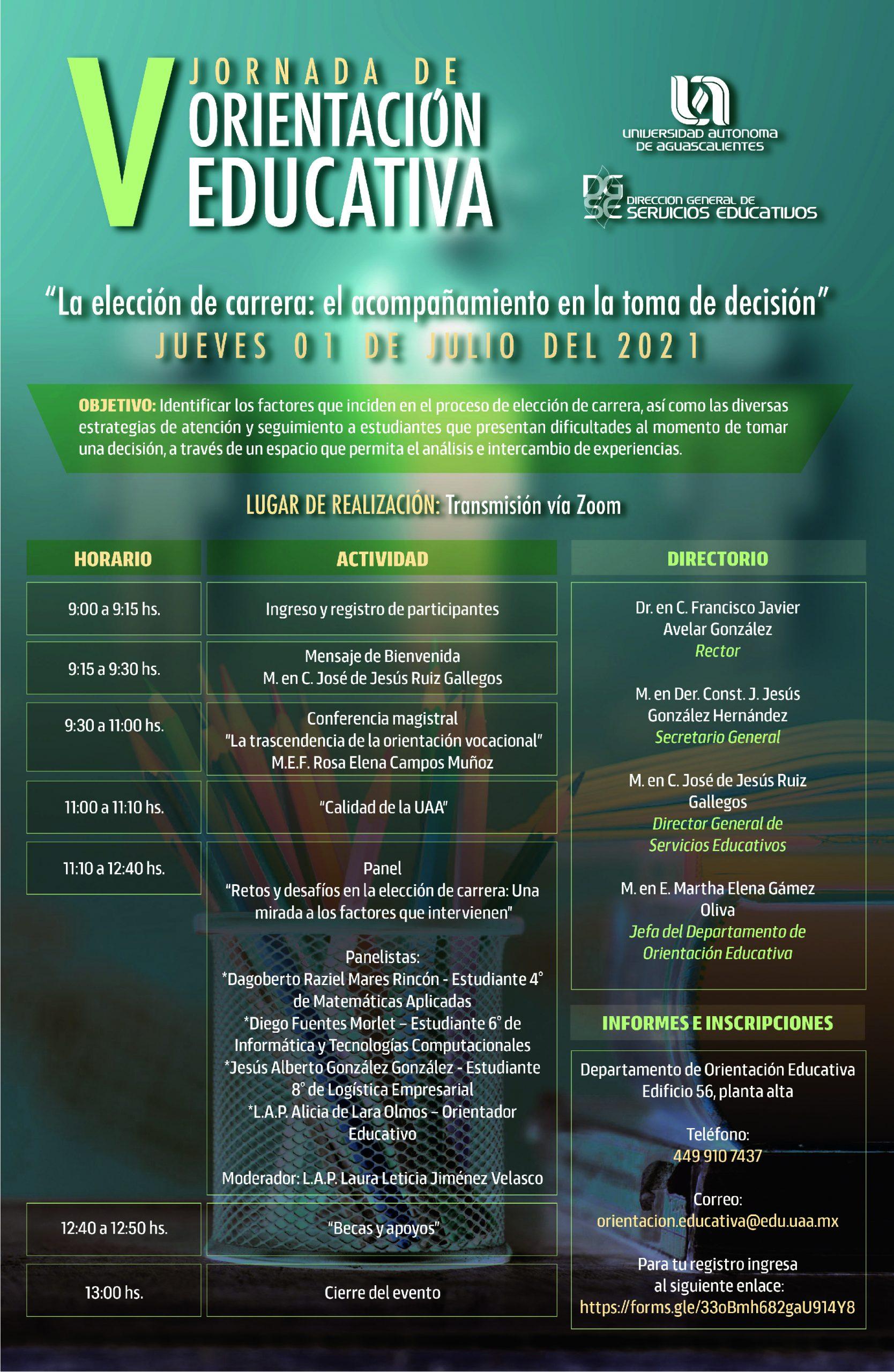 """V Jornada de Orientación Educativa: """"La elección de carrera: el acompañamiento en la toma de decisión"""""""