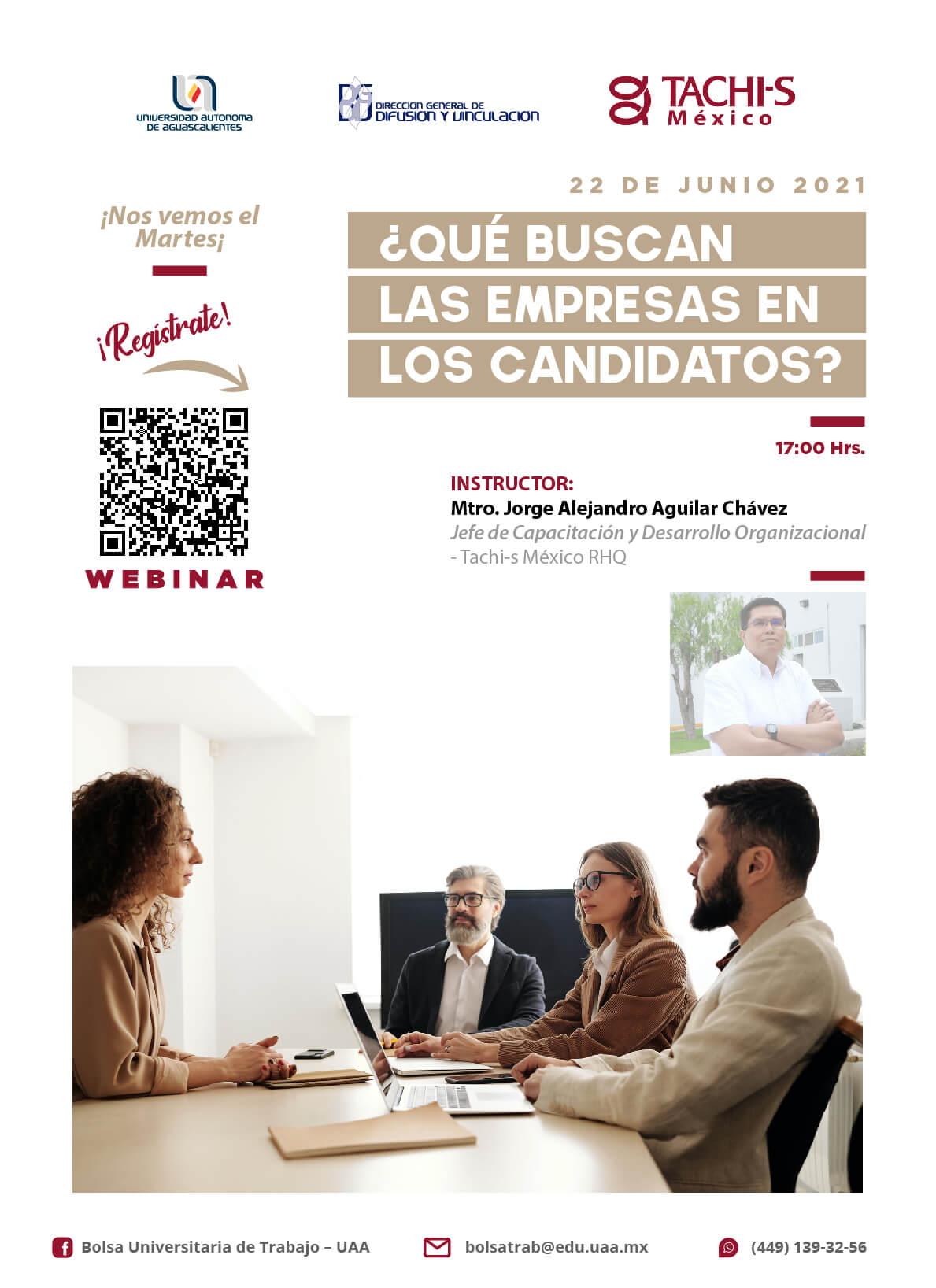 Webinar ¿Que buscan las empresas en los candidatos? éste 22 de junio 17:00 horas invita Tachi-S México