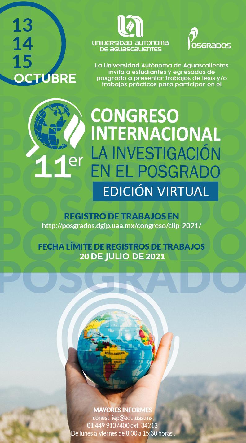 UAA invita a formar parte de su 11° Congreso Internacional de Investigación en el Posgrado, edición virtual