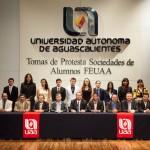 Rinden protesta sociedades de alumnos de diversos centros académicos de la UAA