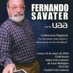 Fernando Savater ofrecerá magna conferencia en la UAA
